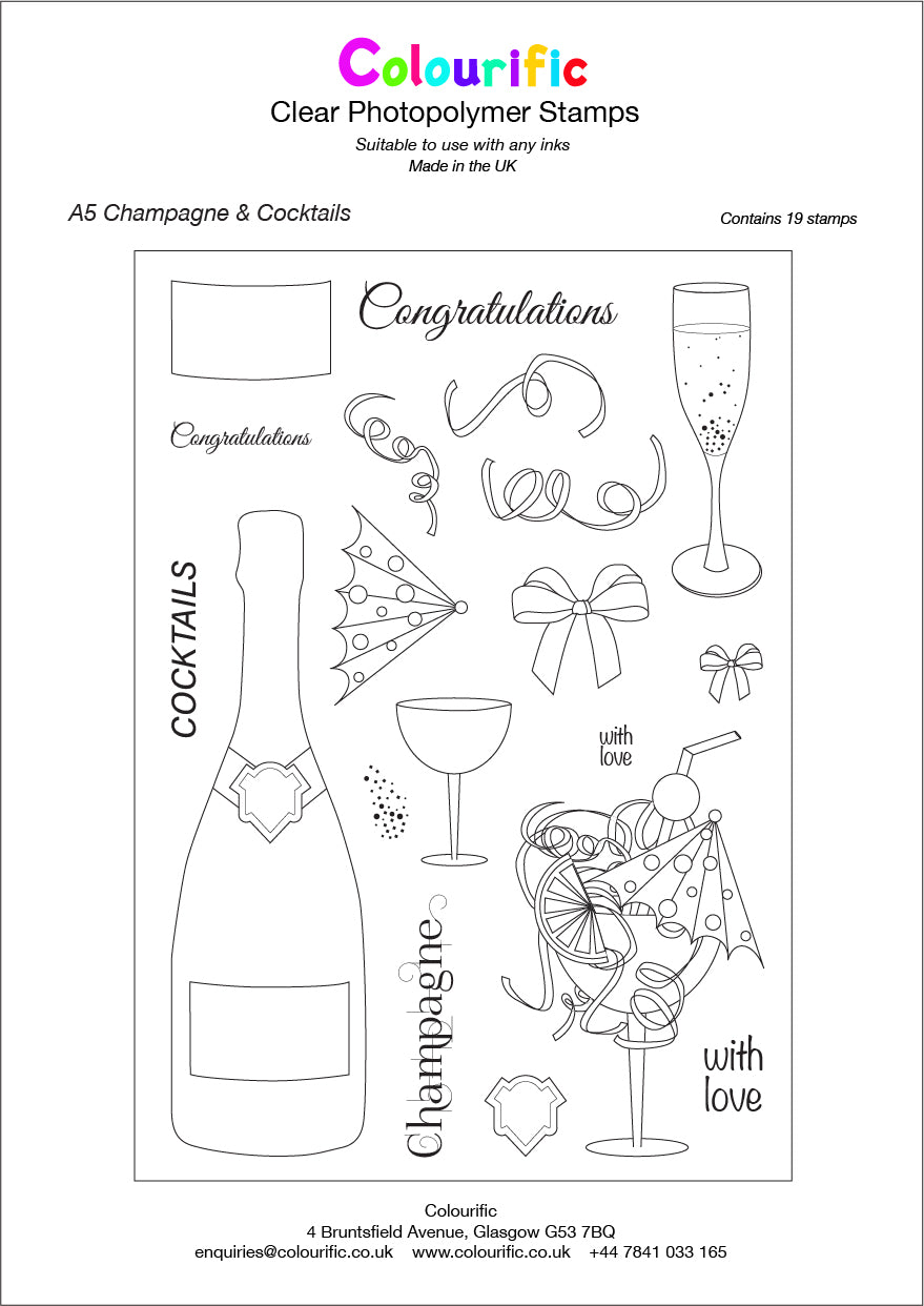A5 Champagne & Cocktails Stamp Set