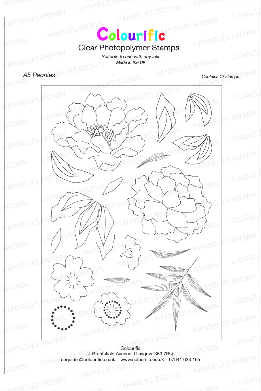 A5 Peonies Stamp Set