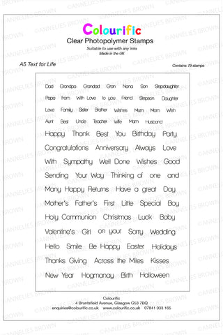 A5 Text for Life Stamp Set