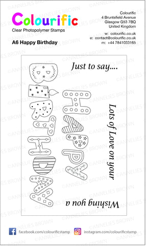 A6 Happy Birthday Wordage Stamp Set