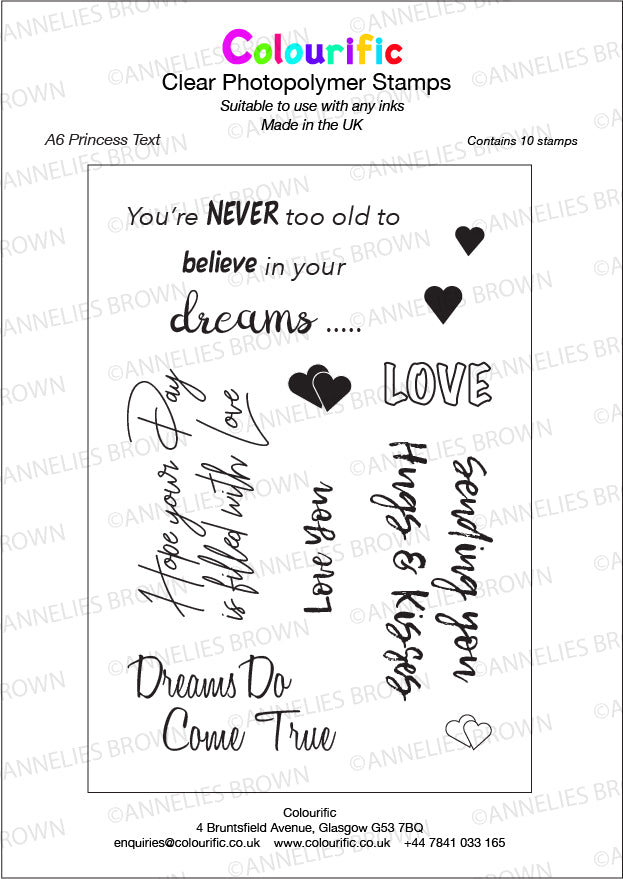 A6 Princess Text Stamp Set
