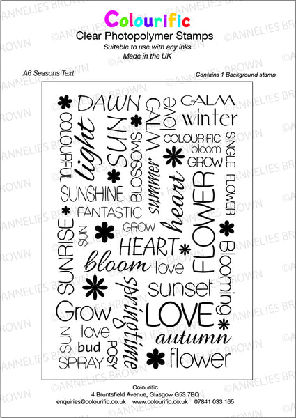 A6 Seasons Text Background Stamp Set