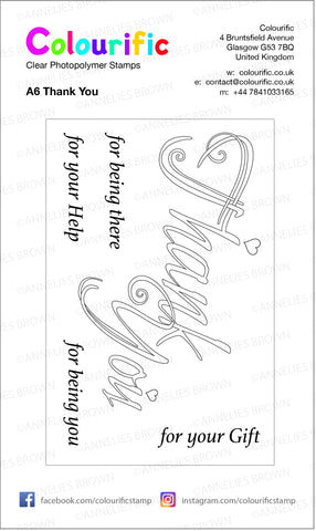 A6 Thank You Wordage Stamp Set