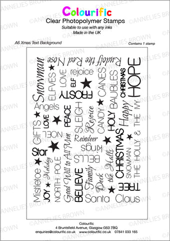 A6 Xmas Text Background Stamp Set