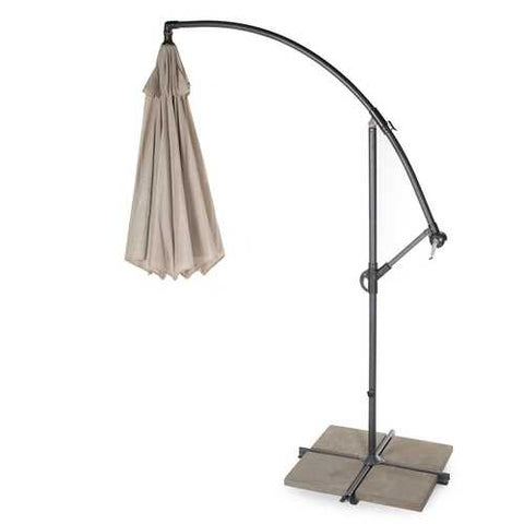 Image of 10 Foot Mocha Offset Patio Canopy Umbrella Rotates 360 Degrees
