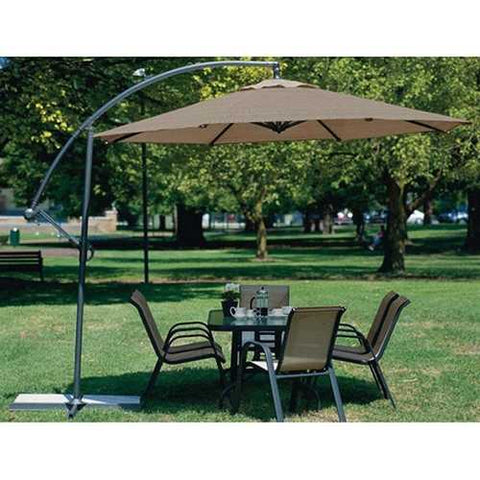 10 Foot Mocha Offset Patio Canopy Umbrella Rotates 360 Degrees