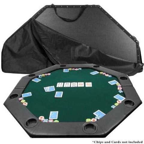 Octagon Padded Poker Top Table in Green Felt with 8 Cup Holders