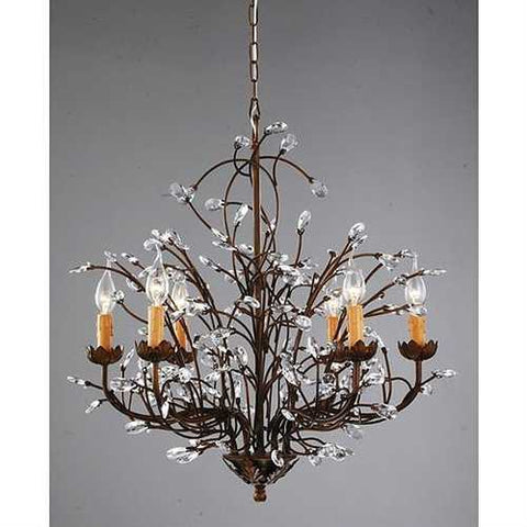 Image of Antique Bronze 6-light Crystal and Iron Chandelier