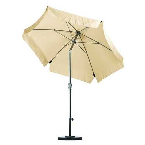 Antique Beige 7.5 Foot Off-White Patio Umbrella with Push Button Tilt and Metal Pole