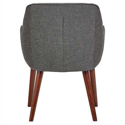 Modern Mid-Century Style Dining Accent Chair in Ash Gray Upholstered Fabric