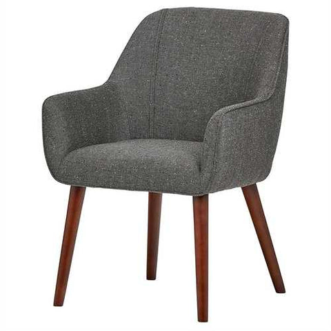 Image of Modern Mid-Century Style Dining Accent Chair in Ash Gray Upholstered Fabric