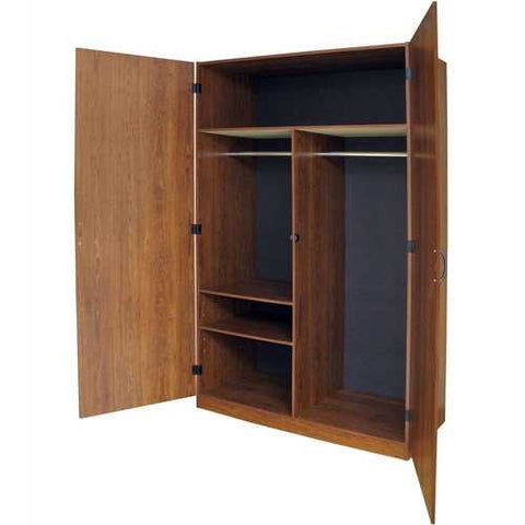 Image of Wardrobe Cabinet Bedroom Organizer Storage Closet in Brown Wood Finish
