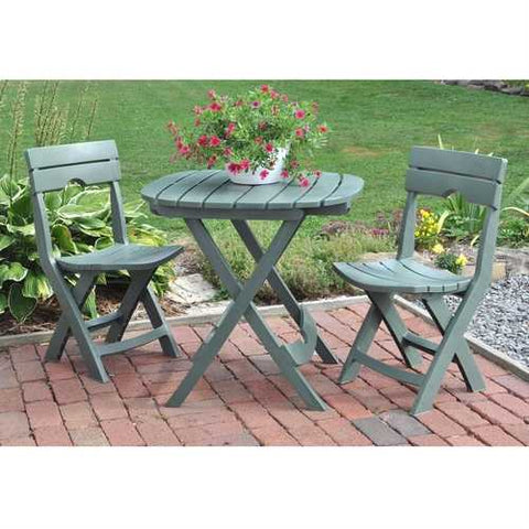 Image of 3-Piece Fast Fold Outdoor Furniture Bistro Set in Sage Green