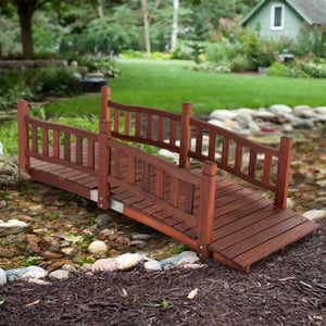 Durable Red Shorea Wood 6-Ft Garden Bridge with Hand Rails