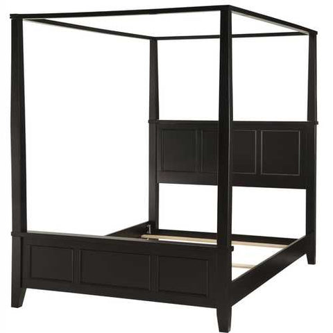 Queen size Contemporary Canopy Bed in Black Wood Finish