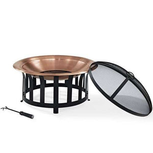 Oversized Copper Bowl Fire Pit with Black Steel Frame Poker and Spark Screen