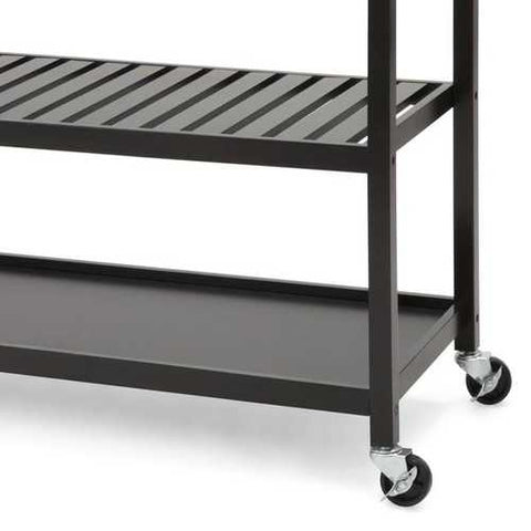 Stainless Steel Top Black Wood Frame Kitchen Island Cart on Casters