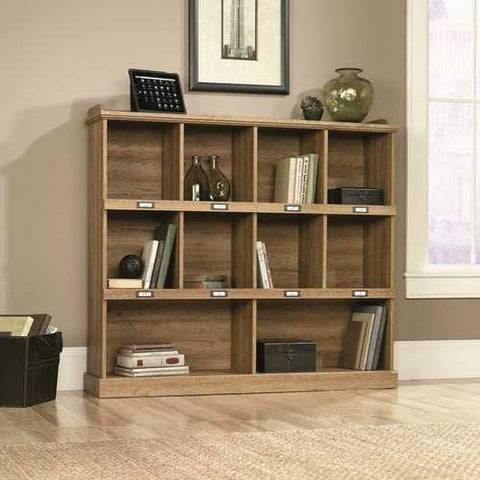 Image of Scribed Oak Wood Finish 53-inch Wide 3-Shelf Bookcase Bookshelf - Made in USA