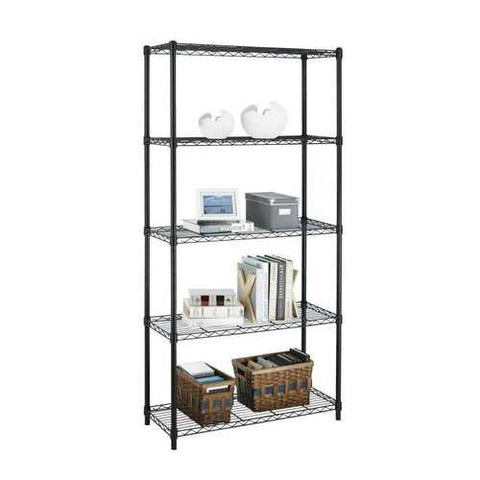 Image of Black Metal 5-Shelf Heavy Duty Shelving Unit Storage Rack