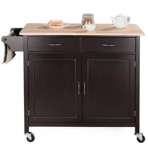 Image of Brown Kitchen Island Storage Cart with Wood Top and Casters