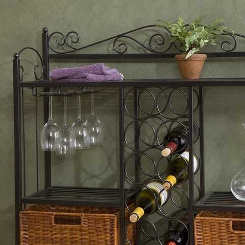 Image of Kitchen Dining Baker's Rack with Wine Storage and Rattan Baskets