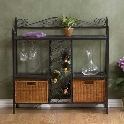 Kitchen Dining Baker's Rack with Wine Storage and Rattan Baskets