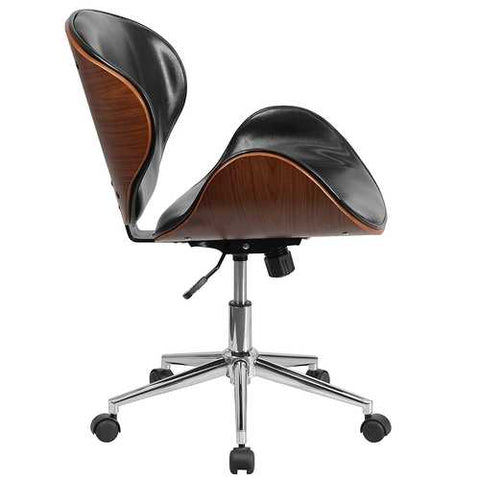Mid-Back Walnut / Black Faux Leather Office Chair with Curved Bentwood Seat