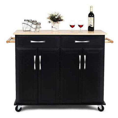Image of Black Kitchen Island Storage Cabinet Cart with Wood Top and Wheels