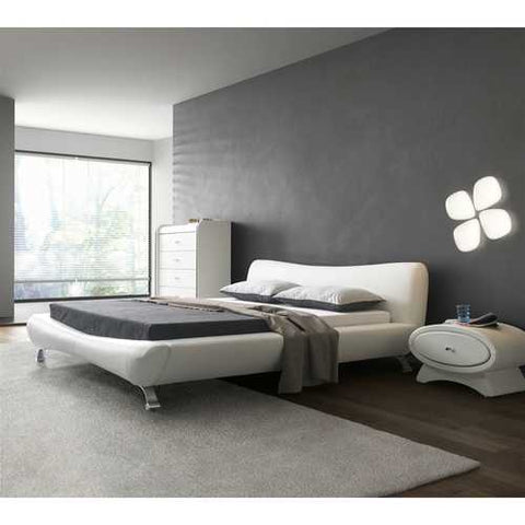 Image of California King White Faux Leather Upholstered Platform Bed with Modern Headboard