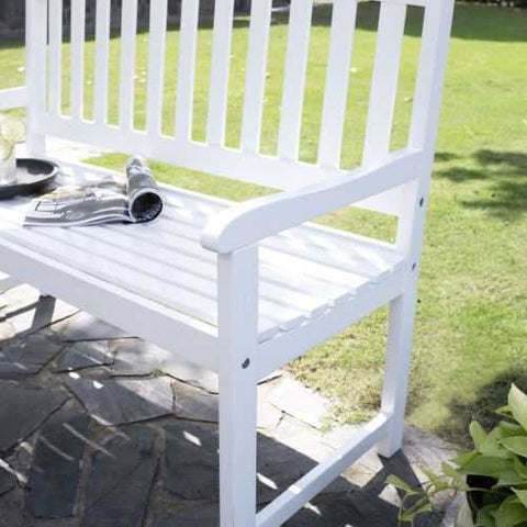 4-Ft Garden Bench with Curved Back and Armrests in White Wood Finish