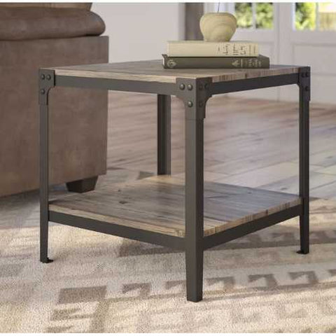 Image of Set of 2 Modern Metal Frame End Table Nightstand in Driftwood Finish