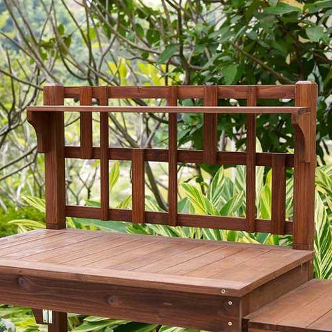 Image of Solid Wood Potting Bench with Flip-up Sides and Garden Tool Shelf in Cinnamon