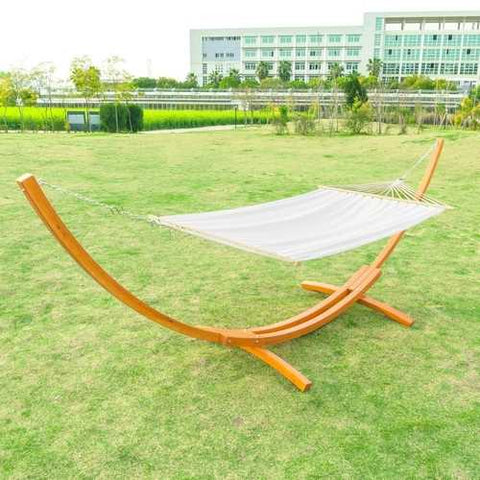 White Cotton Polyester Hammock with 15-ft Pine Wood Stand