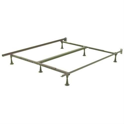 California King size Metal Bed Frame with Wide Stance Glide Legs and Headboard Brackets
