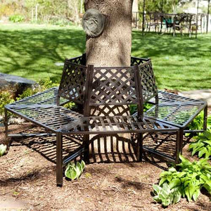 Classic Outdoor 6-Sided Tree Bench in Powder Coasted Steel