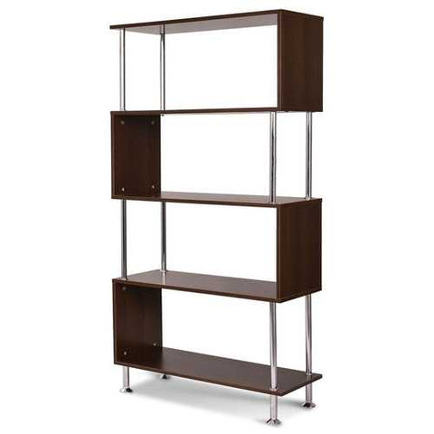 Image of Modern Wood and Steel 4-Shelf Bookcase