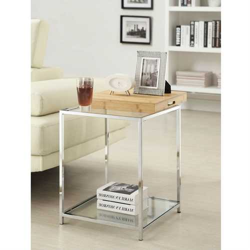 Modern Metal End Table with Removable Bamboo Tray
