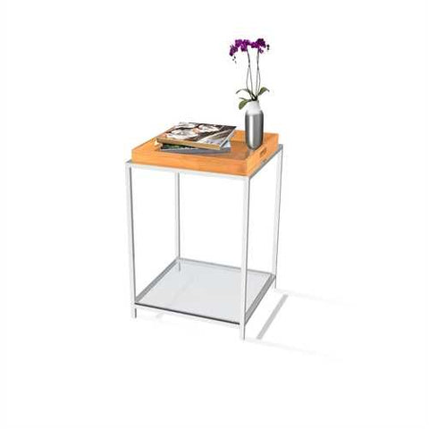 Image of Modern Metal End Table with Removable Bamboo Tray