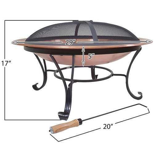 Large 29-inch Outdoor Fire Pit in 100% Solid Copper with Screen Cover
