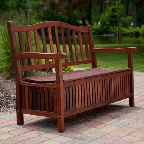 Image of Outdoor Wooden Storage Bench for Patio Garden Backyard