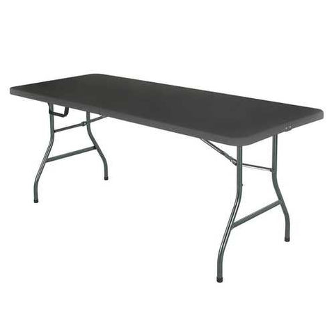Image of Black 6-Ft Centerfold Folding Table with Weather Resistant Top