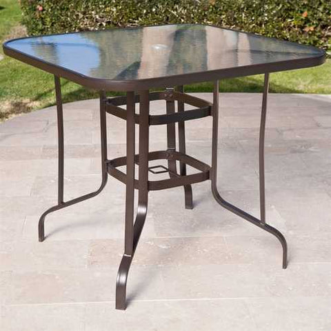 40-inch Outdoor Patio Dining Table with Glass Top and Umbrella Hole
