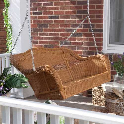Image of Honey Resin Wicker Porch Swing with Comfort Spring and Hanging Hooks