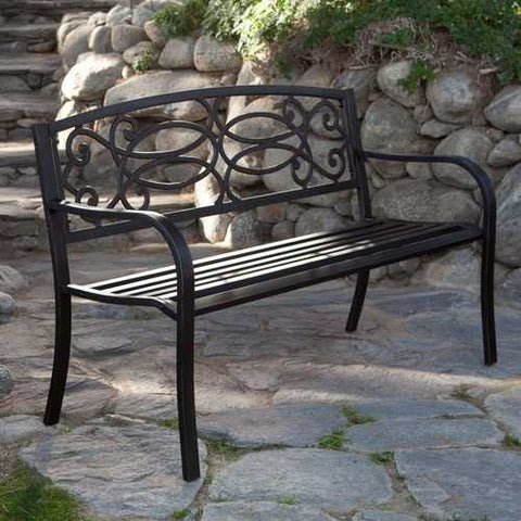 Image of 4-Ft Metal Garden Bench in Antique Black Finish