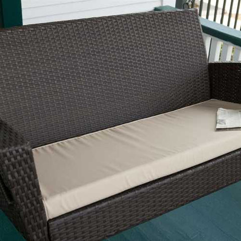 Image of Modern Dark Brown Resin Wicker Porch Swing with Khaki Seat Cushion