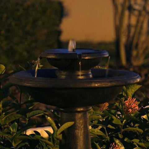 Image of 2-Tier Outdoor Solar Bird Bath Fountain in Oiled Bronze Finish Resin