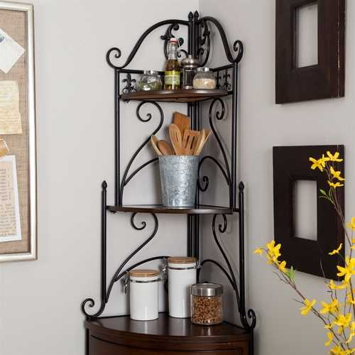 Corner Bakers Rack with Wrought Iron Frame and Wood Storage Shelves