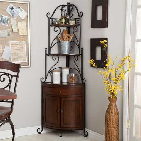 Image of Corner Bakers Rack with Wrought Iron Frame and Wood Storage Shelves