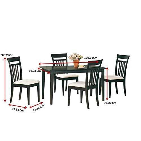 Casual Contemporary 5-Piece Dining Set in Dark Brown Wood Finish