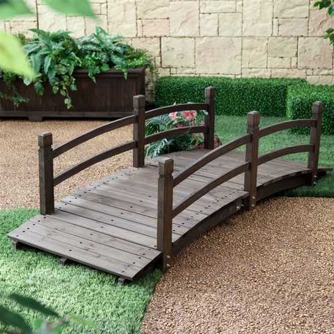 Image of Dark Brown Stain 6-Ft Fir Wood Garden Bridge